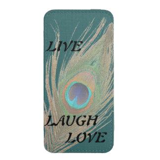 Leben Lachen-Liebe-Pfau-Feder auf aquamarinem iPhone Tasche