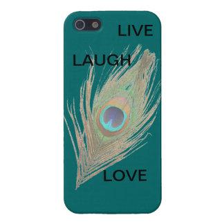 Leben Lachen-Liebe-Pfau-Feder auf aquamarinem iPho iPhone 5 Schutzhüllen