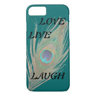 Leben Lachen-Liebe-Pfau-Feder auf aquamarinem iPhone 7 Hülle