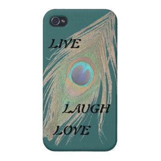 Leben Lachen-Liebe-Pfau-Feder auf aquamarinem iPhone 4 Schutzhülle