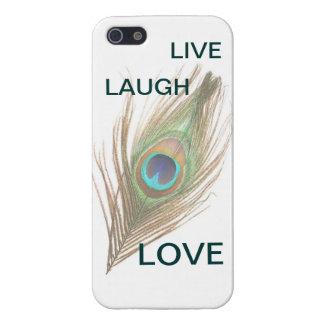 Leben Lachen-Liebe-Pfau-Feder iPhone 5 Savvy Gl iPhone 5 Cover