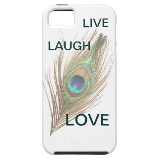 Leben Lachen-Liebe-Pfau-Feder iPhone 5 Vibe-Fall iPhone 5 Etui