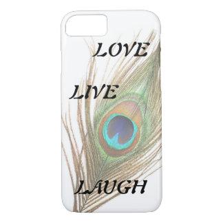 Leben Lachen-Liebe-Pfau-Feder iPhone 7 Hülle