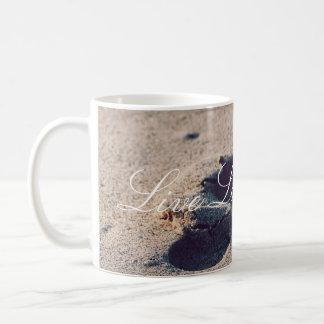 Leben Lachen-Liebe-Sand-Abdruck-Tasse Kaffeetasse