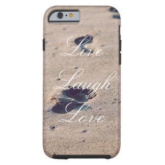 Leben Lachen-Liebe-Sand-Abdruck-Telefon-Kasten Tough iPhone 6 Hülle