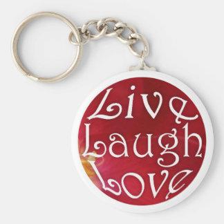 Leben Lachen-Liebe-Schlüsselkette im Rot Standard Runder Schlüsselanhänger