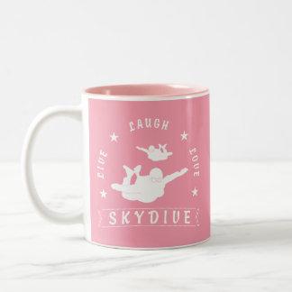 Leben Lachen-Liebe Skydive. Zweifarbige Tasse