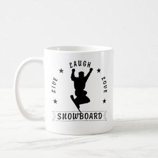 Leben Lachen-Liebe SNOWBOARDschwarztext Kaffeetasse
