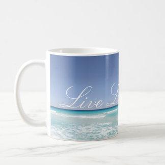 Leben Lachen-Liebe-Strand-Ozean-Wellen-Tasse Kaffeetasse