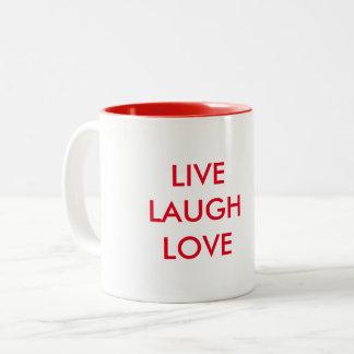 Leben Lachen-Liebe-Tasse Zweifarbige Tasse