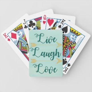 Leben Lachen-Liebe Watercolor Bicycle Spielkarten