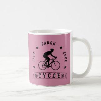 Leben Lachen-Liebe-Zyklus (Schwarz-Text) Kaffeetasse