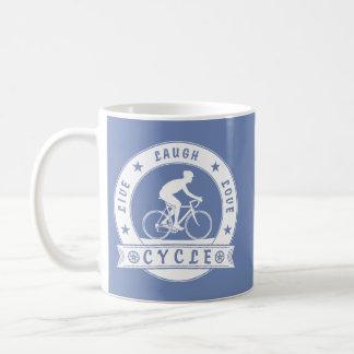 Leben Lachen-Liebe-Zyklus (weißer Kreis) Kaffeetasse