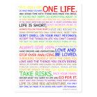 Leben-Manifest-Farbplakat Postkarte
