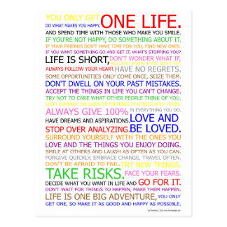 Leben-Manifest-Farbplakat Postkarten
