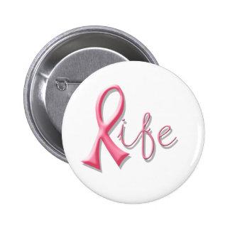 Leben-rosa Band Runder Button 5,1 Cm