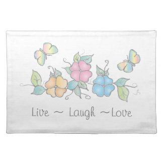 Leben Schmetterlings-BlumenAquarell des Lachen-| Stofftischset
