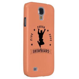 Leben schwarzer Text Lachen-Liebe SNOWBOARD 2 Galaxy S4 Hülle