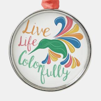 Leben Sie bunt Silbernes Ornament