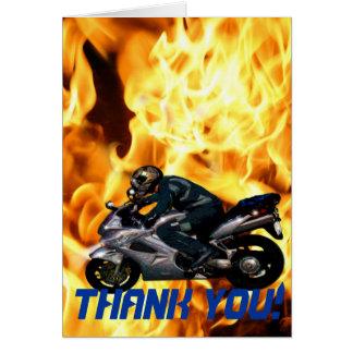 Leben Sie, um Motorrad zu reiten u. danken Flammen Grußkarte
