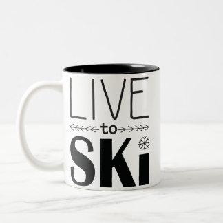 Leben Sie, um Ski zu fahren Tasse 2