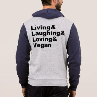 Leben und Lachen und liebevoll und vegan Hoodie