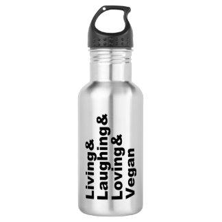 Leben und Lachen und liebevoll und vegan Trinkflasche