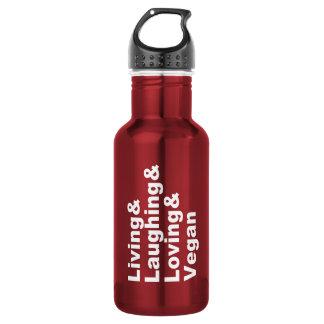 Leben und Lachen und liebevoll und vegan (weiß) Edelstahlflasche