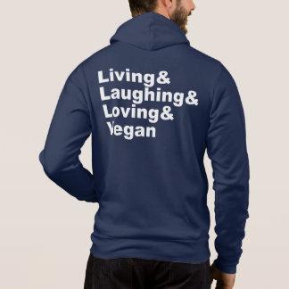 Leben und Lachen und liebevoll und vegan (weiß) Hoodie