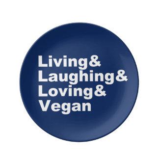 Leben und Lachen und liebevoll und vegan (weiß) Porzellanteller