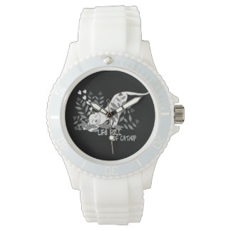 Leben voll der Katzenminzen-Silber-Uhr Uhr