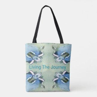 """""""Lebend das Reise-"""" blaues Grün-Positiv-Muster Tasche"""