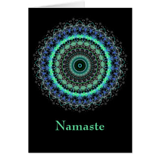 Lebende grüne Mandala Namaste Anmerkungskarte Mitteilungskarte