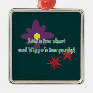Lebens zu kurz quadratisches silberfarbenes ornament