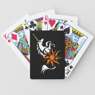 LEBENSLAUF, Springen der Einhorn-Spielkarten Pokerkarten