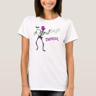 Lebenslustiger Typ Skeletion und Schläger T-Shirt
