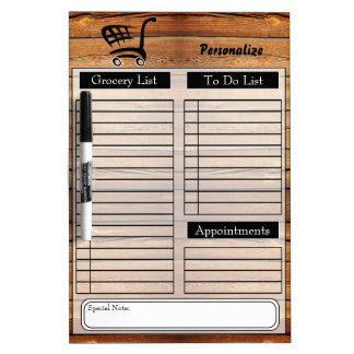 Lebensmittelgeschäft und Liste tun - Holz Trockenlöschtafel