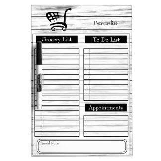 Lebensmittelgeschäft und Liste tun - weißes Holz Trockenlöschtafel