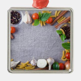 Lebensmittelinhaltsstoffe sind als Rahmen Silbernes Ornament