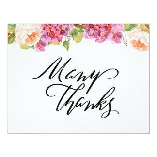 Lebhafte Blumen danken Ihnen zu kardieren Karte