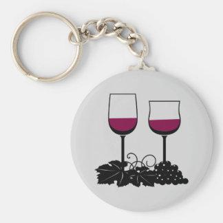 Lebhafte Wein-Gläser Keychain Standard Runder Schlüsselanhänger
