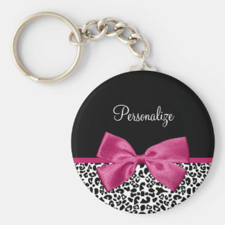 Lebhafter dunkler rosa Band-Leopard-Druck mit Schlüsselband