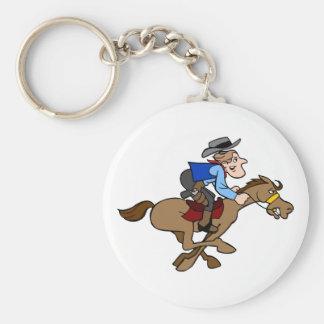 Lebhafter PferdelaufCartoon-Cowboy hält fest Schlüsselanhänger