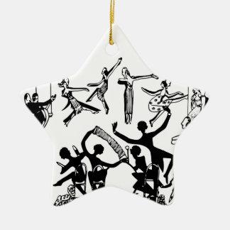 Lebhaftes Party mit Tanzen Keramik Stern-Ornament