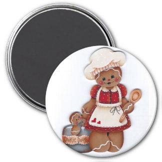 Lebkuchen-Bäcker-Plätzchen-Teig-Magnet Runder Magnet 7,6 Cm