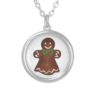 Lebkuchen-Frauen-Dame Christmas Cookie Necklace Versilberte Kette
