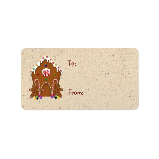 Lebkuchen-Haus-Geschenk-Aufkleber Adressetikett