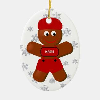 Lebkuchen-Jungen-Weihnachtsverzierung Ovales Keramik Ornament