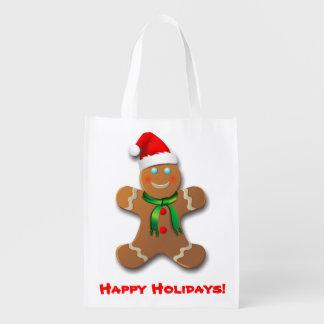 Lebkuchen-Mann mit Weihnachtshut Wiederverwendbare Einkaufstasche