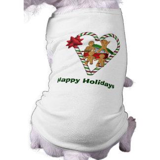Lebkuchen-Mann-Weihnachtsfeiertags-Hund Ärmelfreies Hunde-Shirt